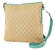 Authentic GUCCI Brown GG Canvas and Green Leather Shoulder Bag Purse #22369 - $269.10