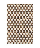 """Couristan Chalet Spectrum Cowhide Leather Area Rug  Brown Ivory  3'4"""" x ... - $257.19"""