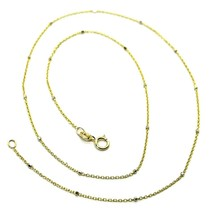 """18K YELLOW & WHITE GOLD CHAIN MINI THIN ROLO 1mm ALTERNATE FACETED CUBES 16"""" image 1"""