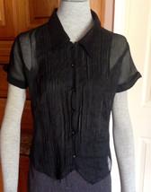 Anthropologie Black Sheer Button Pleated Front 100% Cotton Blouse Short Slvs z M - $11.30