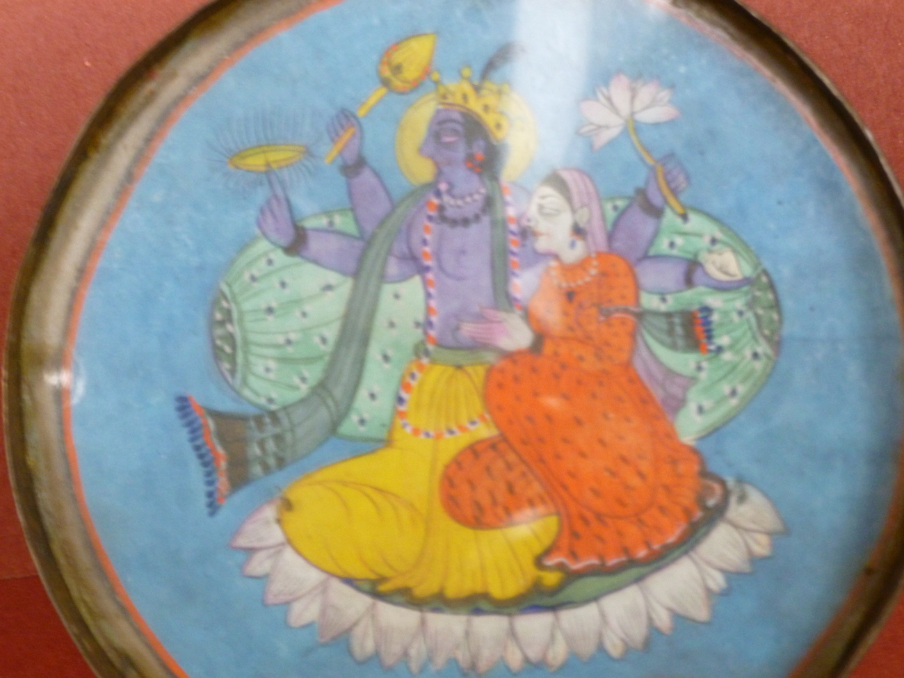 Antique Indian Bronze Travel Shrine With Hand Painted Scene of Krishna and Radha
