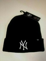 New York Yankees 47 Brand Black Knit Hat With Cuff Raised White Ny New - $16.40