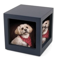 Small/Keepsake Navy Photo Cube Funeral Cremation Urn, 85 Cubic Inches - $79.99