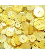 100 Yellow Buttons - random assortment, multi button sizes, bulk buttons - $6.00