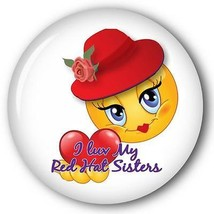 I LUV MY RH SISTERS SMILEY FACE - RED HAT PURSE MIRROR W/ ORGANZA BAG 3 ... - $7.91
