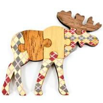 Northwoods Wood Cutout Moose Jigsaw Puzzle Design Magnet - $4.45