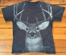 "Vintage Virginia Deer Buck Hunter Antlers Cotto Graphic Short Sleeve Shirt 38"" S - $17.49"