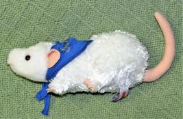 "Aurora World Mini Flopsies 7"" Rat White B EAN Bag Stuffed Animal Blue Bandanna - $14.85"