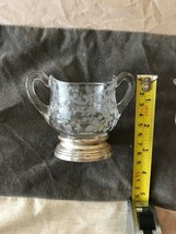Vintage Fostoria Etched Crystal Creamer and Sugar bowl Silver base   - $21.15