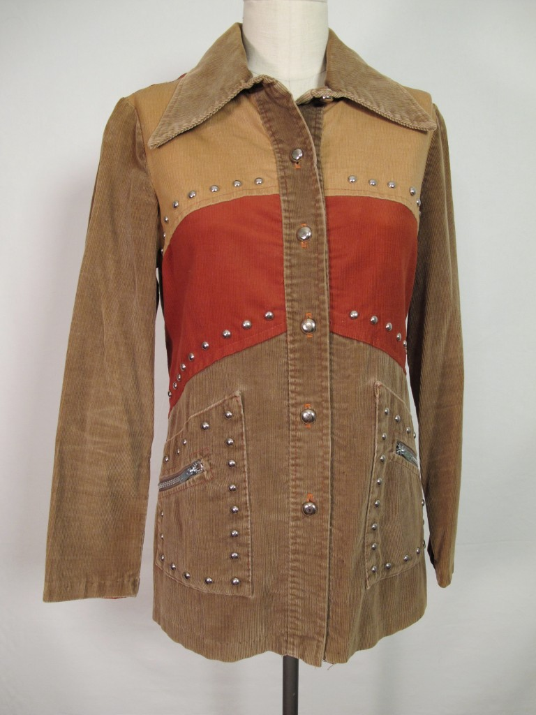 VTG 70s HIPPIE SHIRT JACKET METAL STUDDED BRN RUST MOD