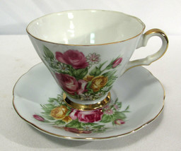 Vintage Lefton China Cup & Saucer Footed Floral Gold Trim 438 Roses Daisies - $9.89