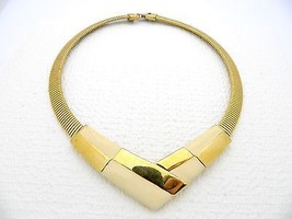 VTG NAPIER Modernist Abstract Art Deco Gold Tone Ivory Colored Enamel Choker - $24.75