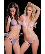 Leoni Paris French Ruffle & Lace Bra & Panty Set Sexy Lingerie - $25.03