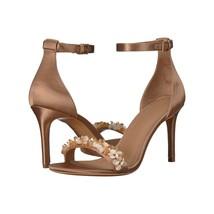Tory Burch Logan Rose Silk Natural Vachetta Leather 85mm Heels Sandals Sz 9.5 - $196.52