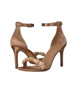 Tory Burch Logan Rose Silk Natural Vachetta Leather 85mm Heels Sandals S... - $196.52