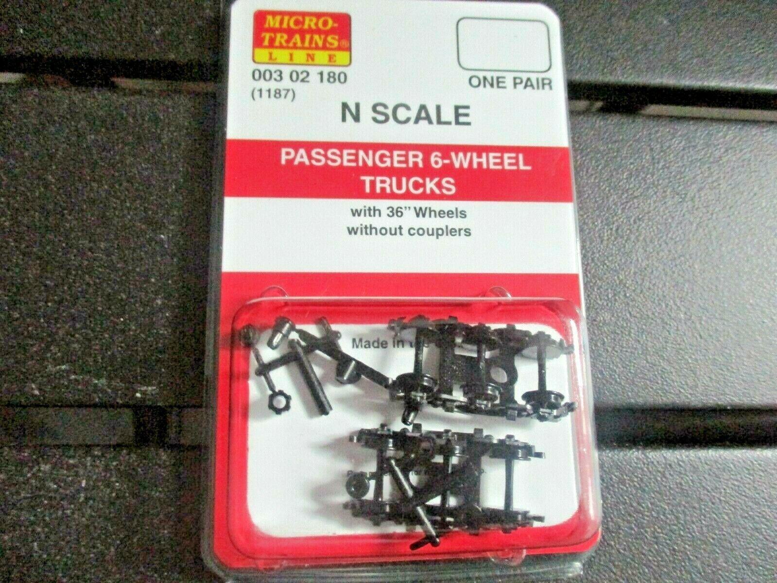 Micro-Trains Stock # 00302180 (1187) Passenger 6-Wheel Trucks No Couplers (N)