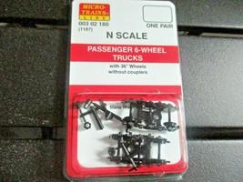Micro-Trains Stock # 00302180 (1187) Passenger 6-Wheel Trucks No Couplers (N) image 1