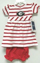 NCAA Georgia Bulldogs Red White Stripe Dress 2 pieces Two Feet Ahead #225 - $26.95