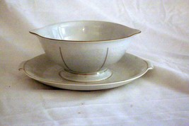 Rosenthal White Velvet Gravy Boat With Under Plate Continental Line Gold... - $34.64