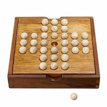 Winmaarc Handmade Wooden Peg Solitaire Board Game, Mini Teaser Board Games - $23.46