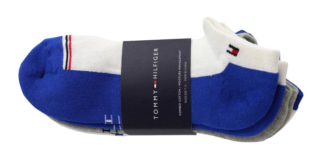 NEW MEN'S TOMMY HILFIGER 3 PCS ATHLETIC LOW CUT SOCKS MULTI ATV395*H87