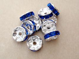 8 8mm Czech Glass Rhinestone Rondelle:Silver - Sapphire - $2.75