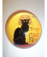 Le Chat Noir Black Cat Glass Dome Paperweight in Gift Box by Steinlen - $21.83