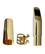 #7 Alto Saxophone Metal Mouthpiece 14k Gold Plated with Ligature and Cap... - $59.79