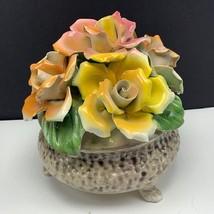 Capodimonte porcelain flower pot napoleon italy bouquet floral figurine ... - $123.75