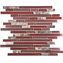 Merola G-IT-TPN-BX Tessera Piano Bordeaux Glass and Stone Mosaic Tile 10... - $120.94