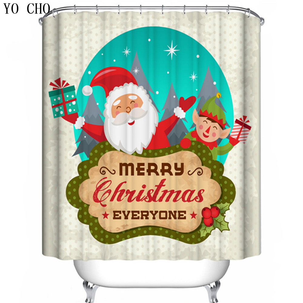 Natal Merry Christmas 88 Shower Curtain Waterproof Polyester Fabric For Bathroom