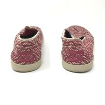 Toms Womens Size 5 Slip On Casual Sneakers Red White Fabric Woven Flats image 4