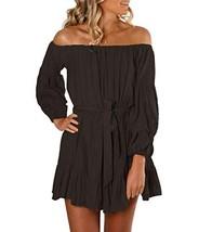 Mingriya Women Cold Shoulder Ruffle Casual Loose Shift Dress Black, Medium - $36.51
