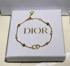 Auth NEW Christian Dior CLAIR D LUNE GOLD Crystal Pearl BRACELET  image 4