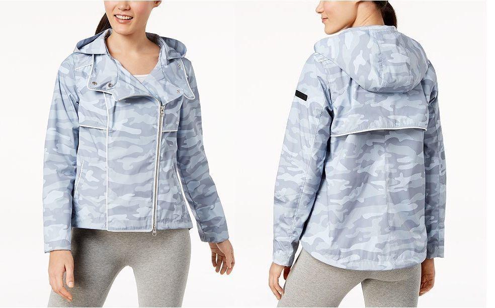 Calvin Klein Asymmetrical Zip Hooded Jacket Gray Camo Size Medium - $129 - NWT
