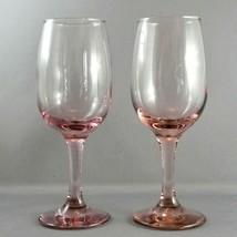 "Libbey Premiere Pink Wine Glasses Set of 2 Goblets 8 oz  7.25"" - $16.15"