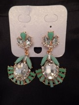 New Costume Jewelry Earrings Gold Tone Faux Jade Crystal Art Deco Drop S... - $19.79