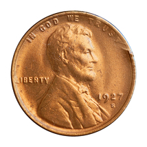 1927 S Lincoln Wheat Cents - Red Gem BU / MS RD / UNC - $347.00