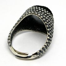MEN'S RING 925 SILVER, BURNISHED AND FLECKED, ONYX ROUGH, SIZE ADJUSTABLE image 4