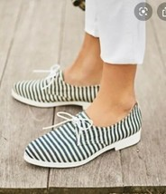 Anthropologie KMB Striped Canvas Oxford Shoes Women 7 Blue White Pointed... - $18.80