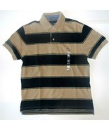 Tommy Hilfiger Mens Polo Shirt Striped Brown Navy Blue Size XSmall NWT - $38.79
