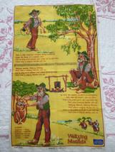 Vintage WALTZING MATILDA Linen Hand Painted KITCHEN TOWEL - Australian D... - $14.85