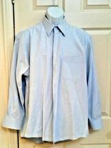 ALFANI Mens Dress Shirt 100% Cotton 16-1/2 32-33 Solid Blue Button-Down - $19.75
