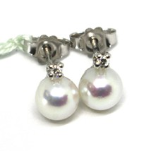 18K WHITE GOLD EARRINGS WITH WHITE ROUND AKOYA PEARLS 6.5 MM AND DIAMONDS image 1