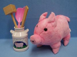 Pig Decor Stuffed Pig & Ceramic Utensil Milk Ca... - $14.89