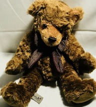 "Vintage Rich Plush Seated Teddy Bear Stuffed Animal 11"" Burguny Bow  - $29.58"