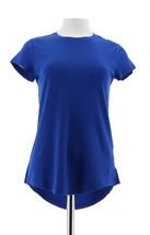 Isaac Mizrahi Pima Cotton Curved Hem T-Shirt Royal Blue 3X NEW A288195 - $22.75