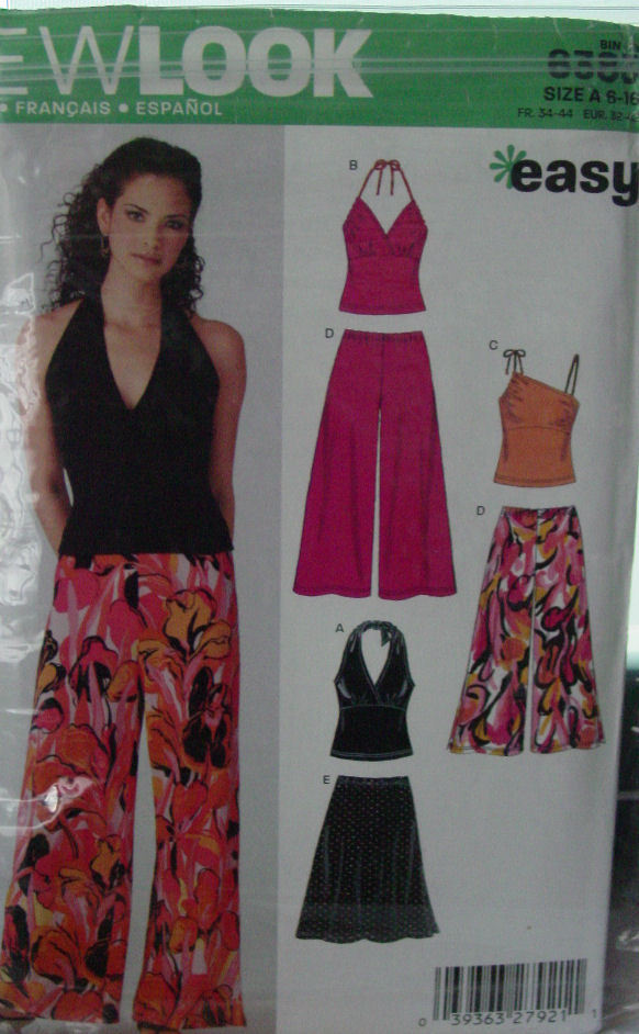 Pattern 6383 Young Women's sz 6-16 Halter Style Top, Wide Leg Pant