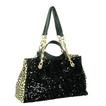 [My Love] Stylish Black Four Carrying Handles Bag Handbag - $35.99