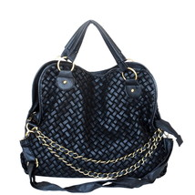 [Black Forest] Stylish Black Double Handle Bag Handbag - $26.99
